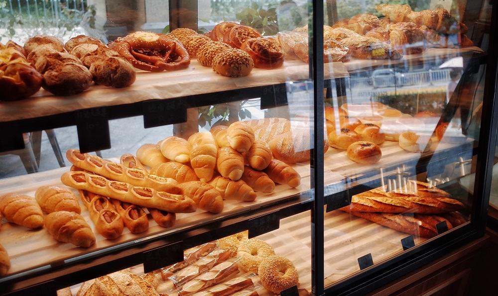 Pastries in shop window